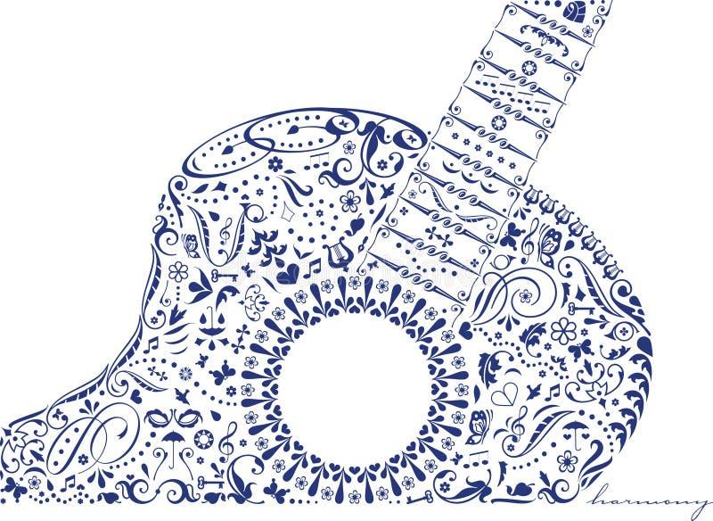 Guitarra com harmonia ilustração do vetor