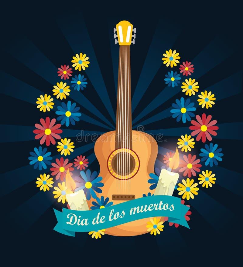 Guitarra com velas e flores ao dia dos mortos ilustração do vetor