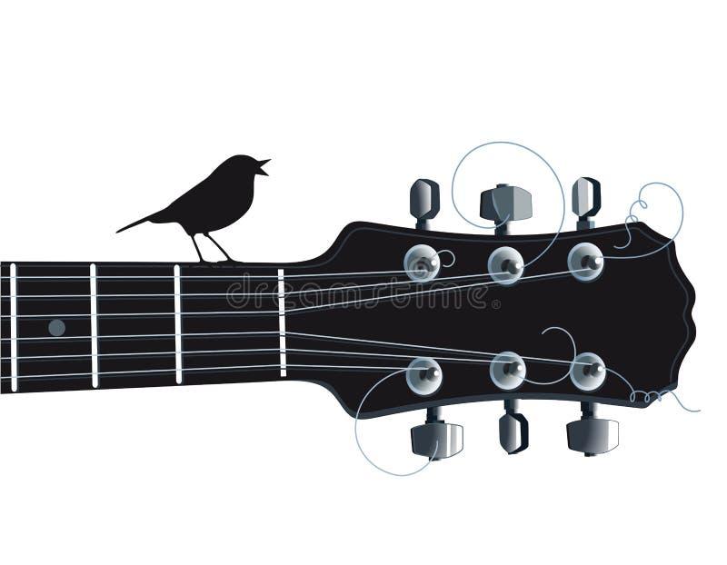 Guitarra con el pájaro del canto ilustración del vector