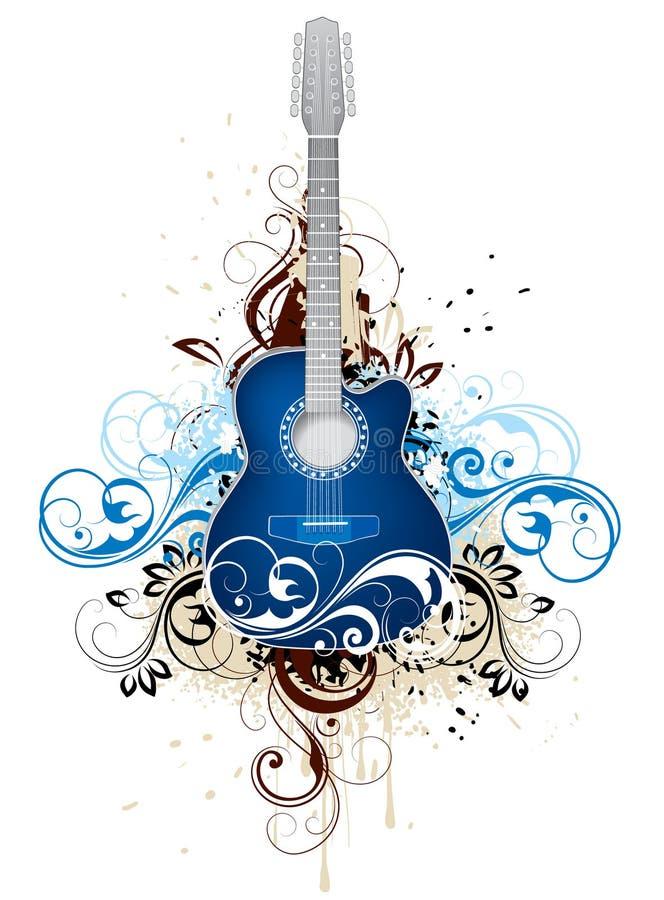 Guitarra con flourishes ilustración del vector