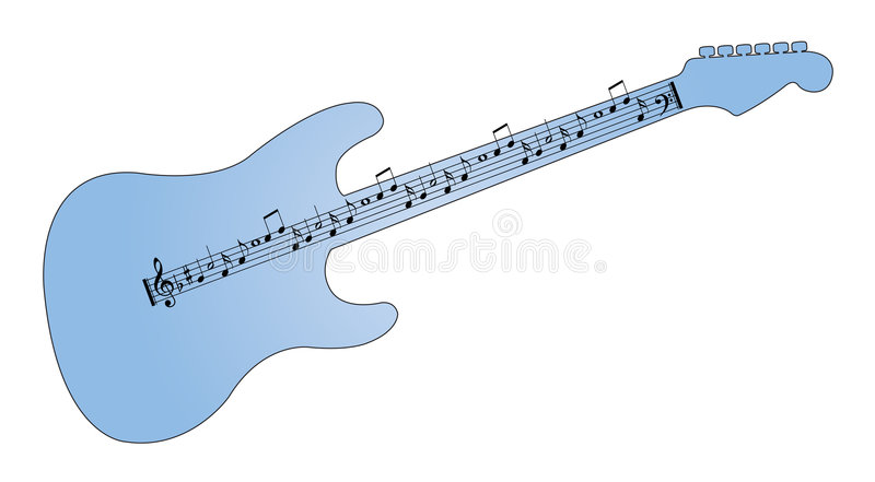 Guitarra con las notas musicales como canción stock de ilustración