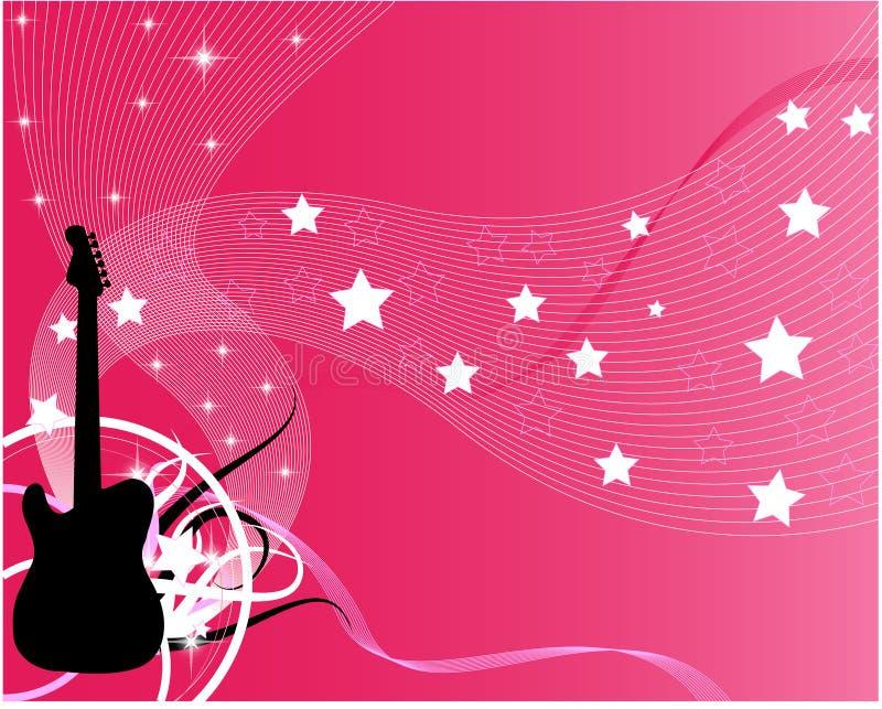 Guitarra cor-de-rosa do vetor ilustração royalty free