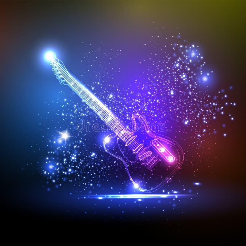 Guitarra da luz de néon ilustração royalty free