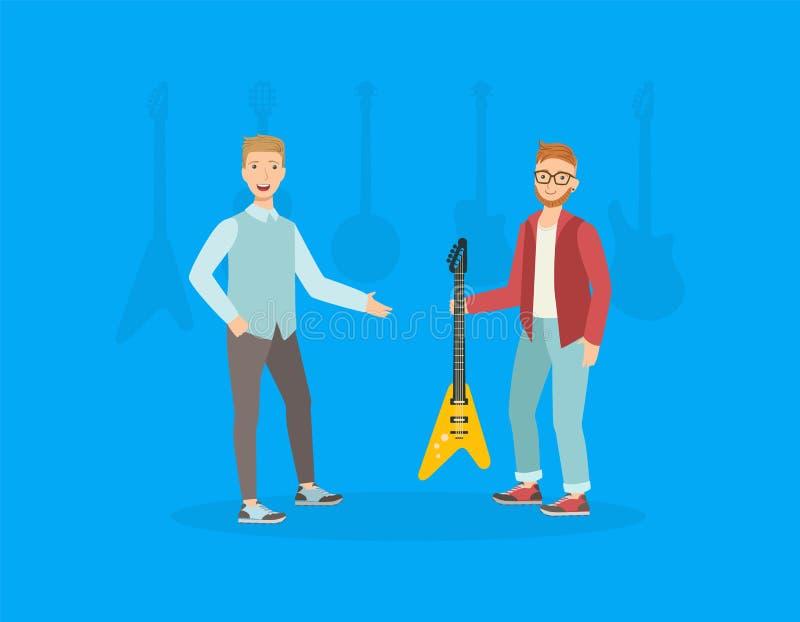 Guitarra de escolha e de compra do homem novo em Music Store, assistente de loja masculino que vende o vetor dos instrumentos mus ilustração stock