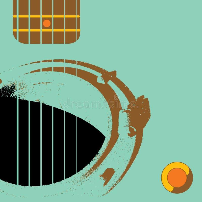 Guitarra de Grunge com câmara de visita ilustração stock