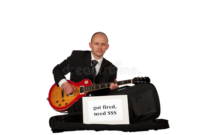 Guitarra de jogo desempregada para o dinheiro foto de stock royalty free