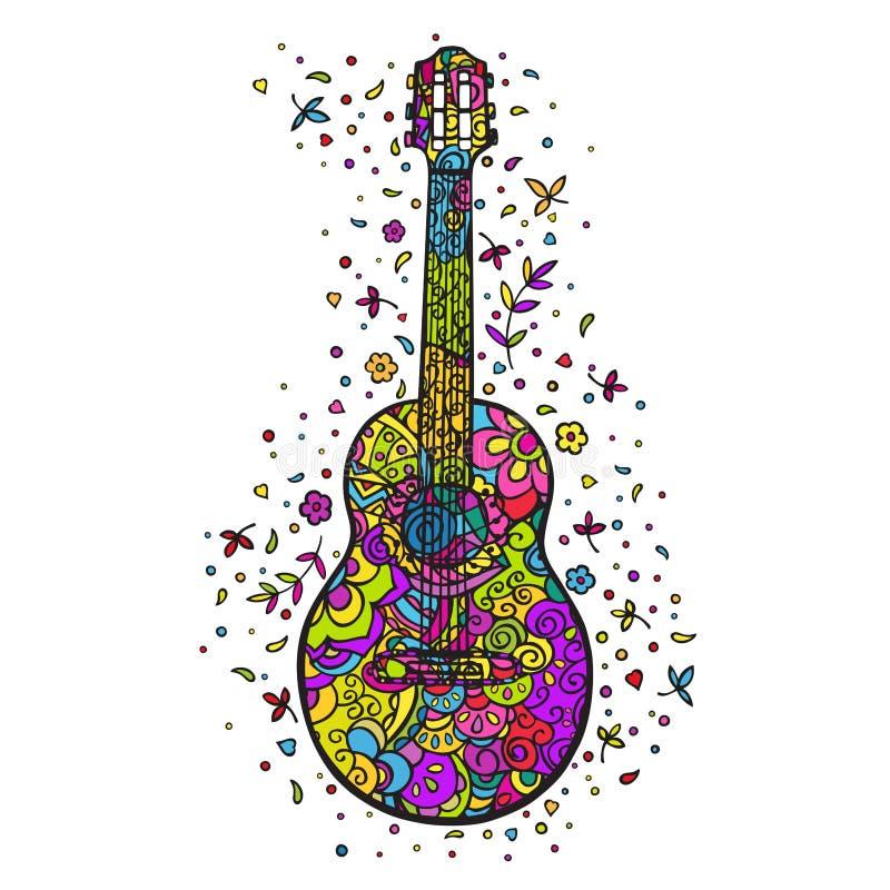 Guitarra de la historieta El garabatear del color Ilustraci?n del vector stock de ilustración