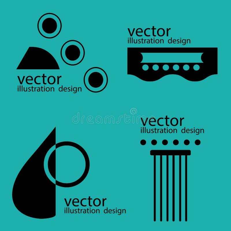 Guitarra de los logotipos del vector en verde stock de ilustración
