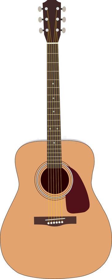 Guitarra de madeira acústica ilustração stock