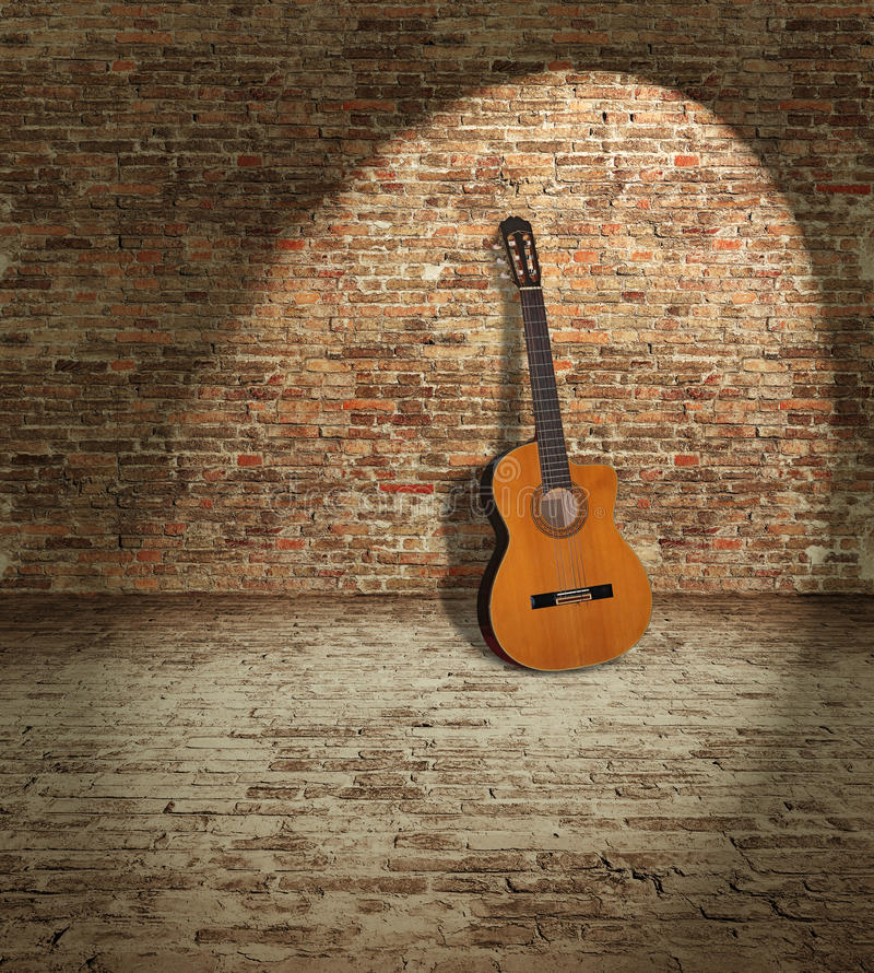 Guitarra e parede fotografia de stock
