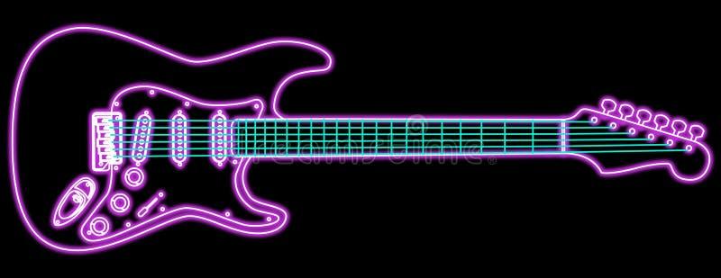 Guitarra de néon ilustração do vetor