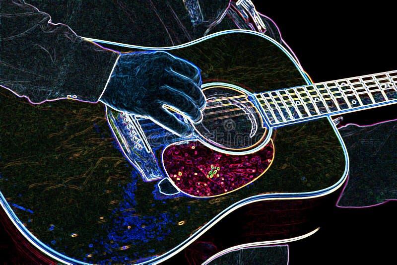 Guitarra de néon ilustração royalty free