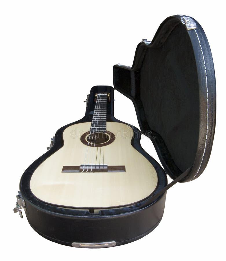 Guitarra del flamenco A20 en caso de que foto de archivo