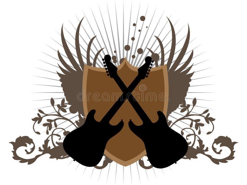 Guitarra do cruzamento ilustração stock