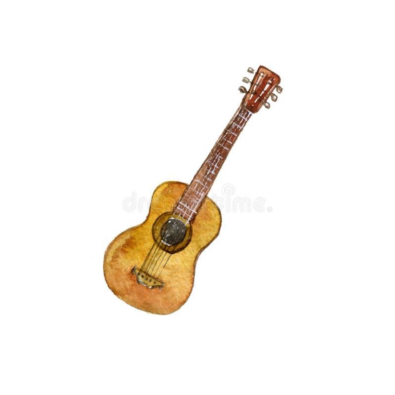 Guitarra do desenho da aquarela ilustração stock
