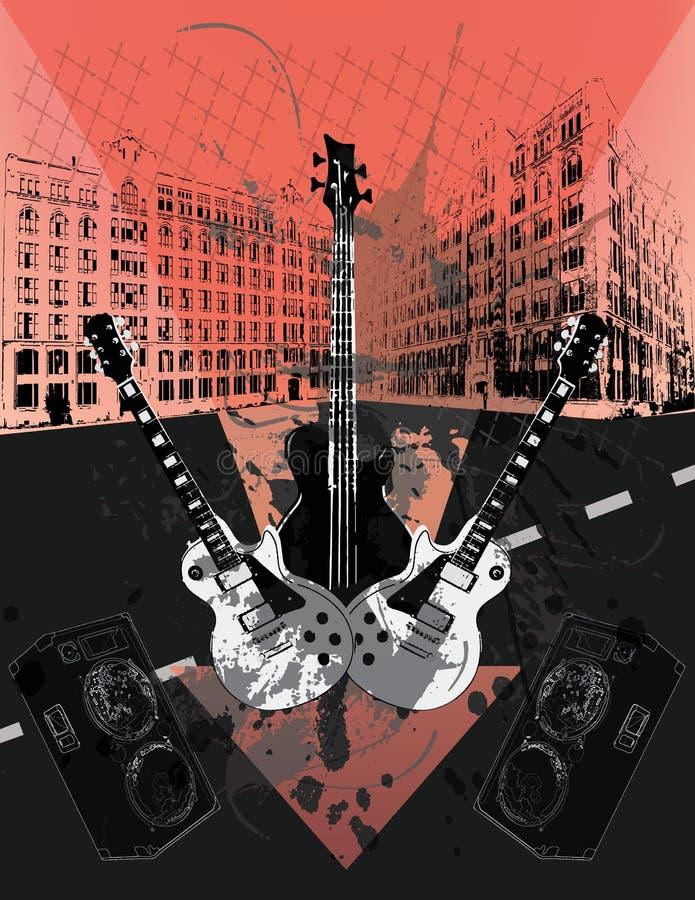 Guitarra do Grunge ilustração do vetor