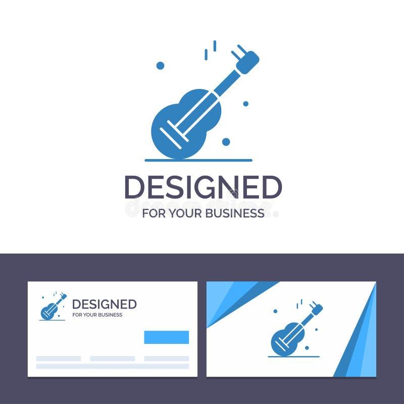 Guitarra do molde criativo do cartão e do logotipo, música, EUA, ilustração americana do vetor ilustração stock