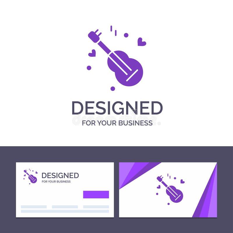 Guitarra do molde criativo do cartão e do logotipo, música, música, ilustração do vetor do amor ilustração stock