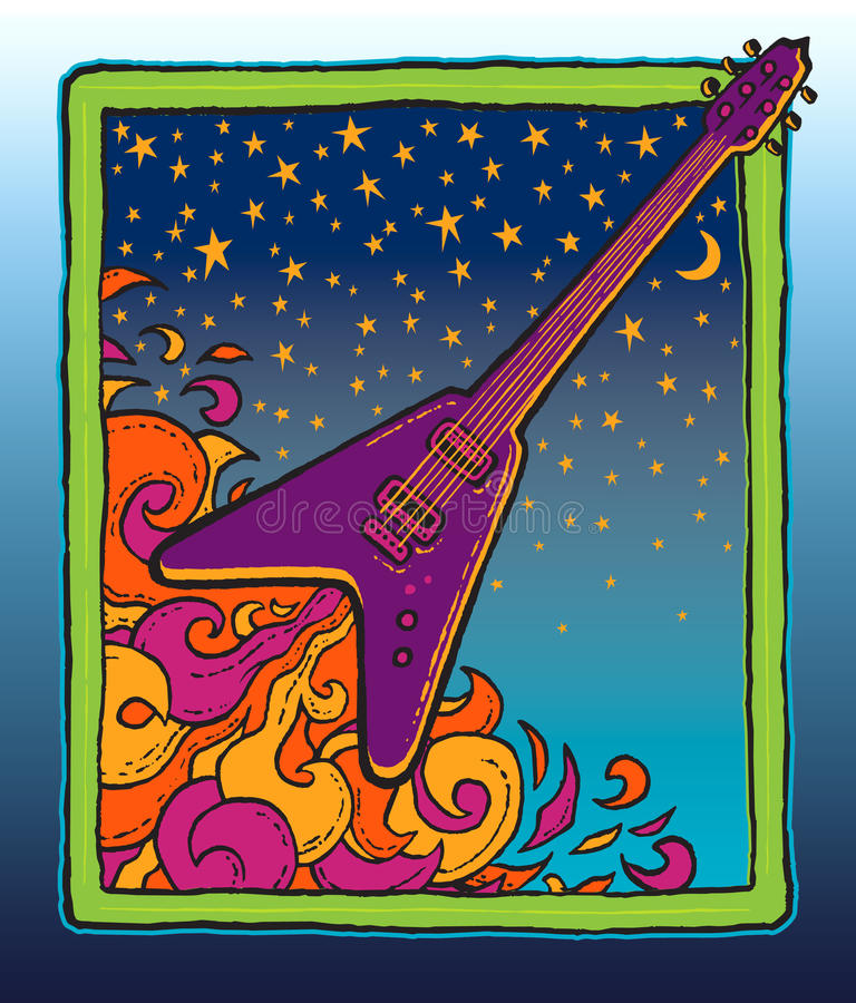 A guitarra do rock and roll sopra fora ilustração royalty free