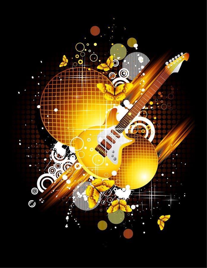 Guitarra e borboleta ilustração do vetor