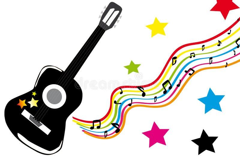 Guitarra e estrelas pretas ilustração stock