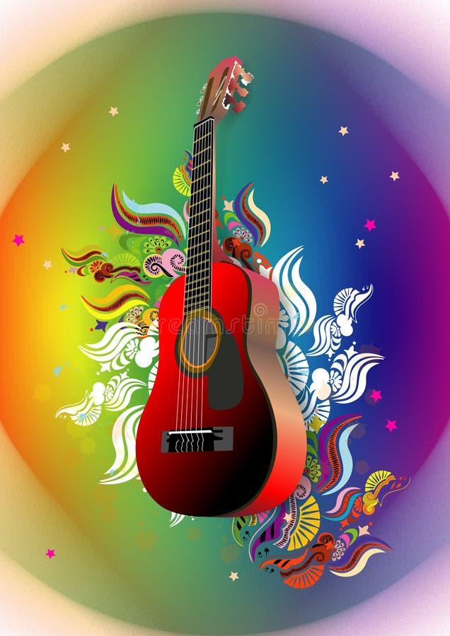 Guitarra e floral ilustração royalty free