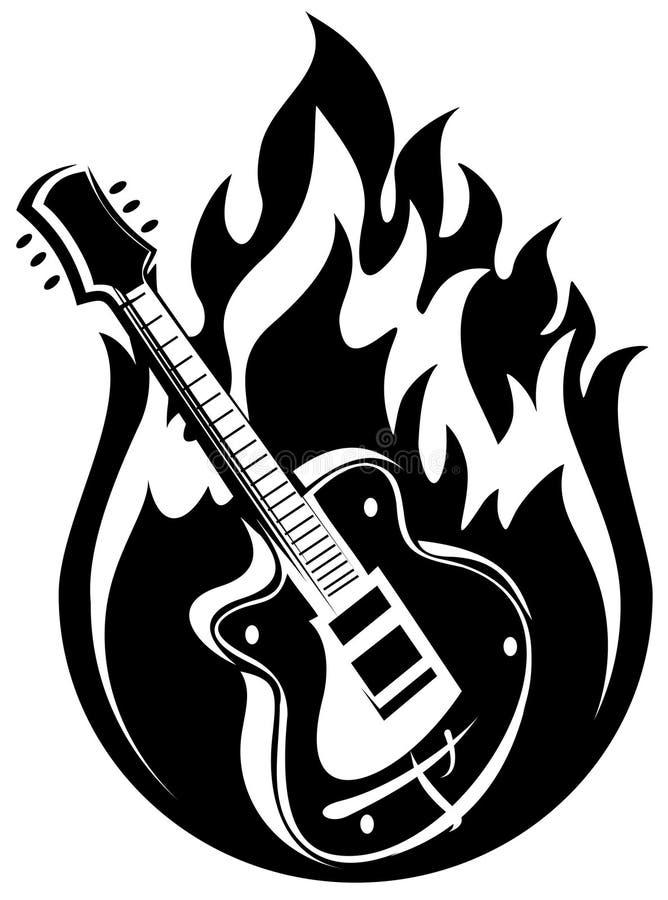 Guitarra e incêndio ilustração royalty free