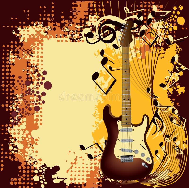 Guitarra e nota ilustração stock