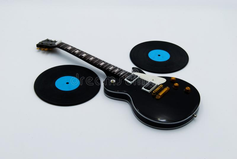Guitarra e registros imagens de stock