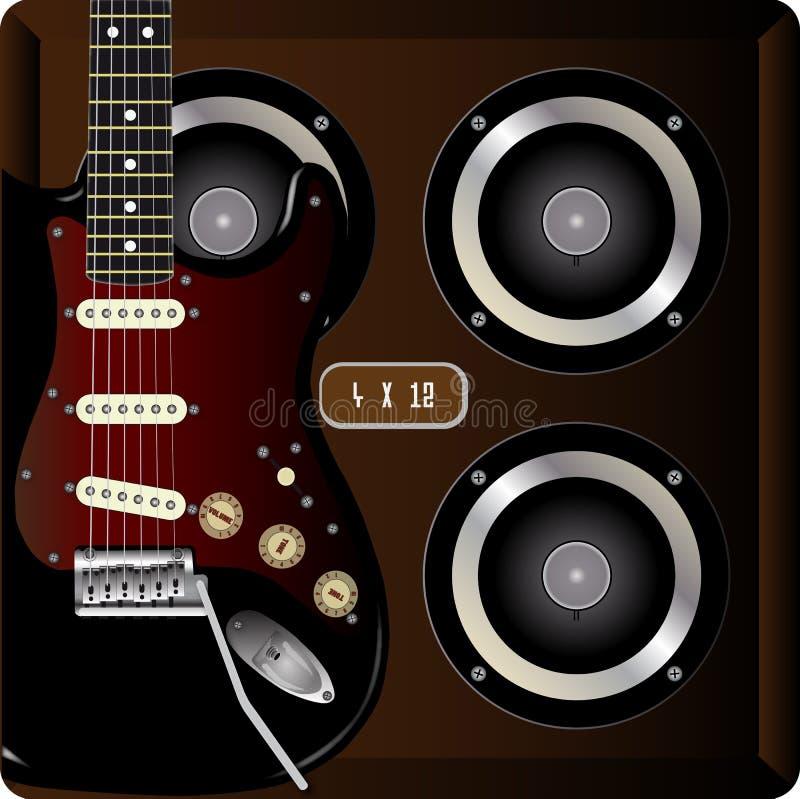 Guitarra e táxi ilustração royalty free