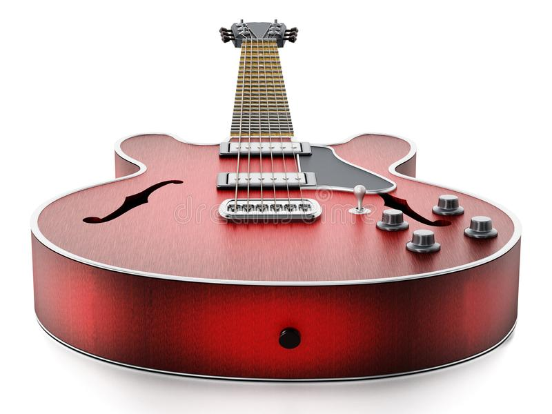 Guitarra eléctrica con final de madera rojo llameante ilustración 3D libre illustration