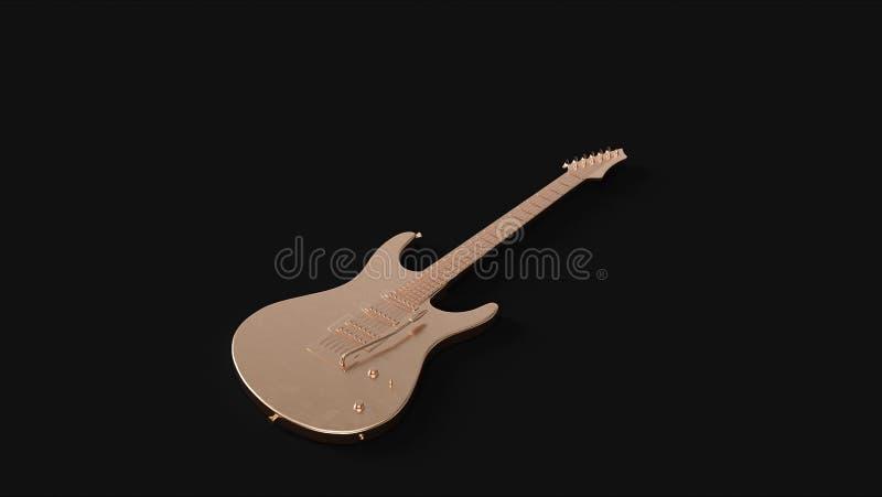 Guitarra eléctrica de cobre amarillo stock de ilustración