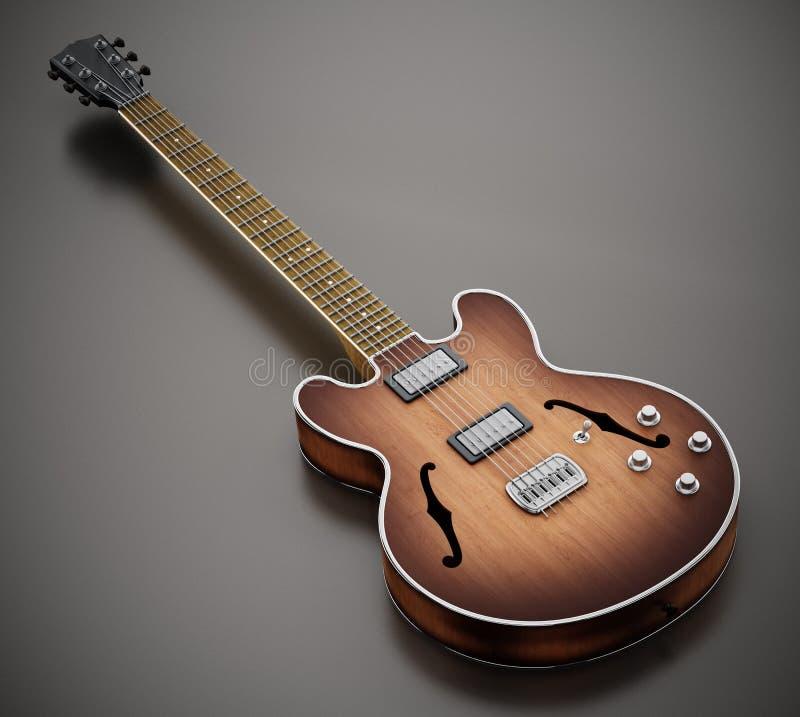 Guitarra eléctrica del vintage aislada en el fondo blanco ilustración 3D ilustración del vector