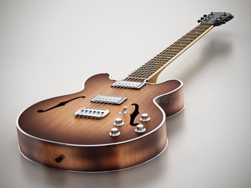 Guitarra eléctrica del vintage que se coloca en fondo gris ilustración 3D libre illustration