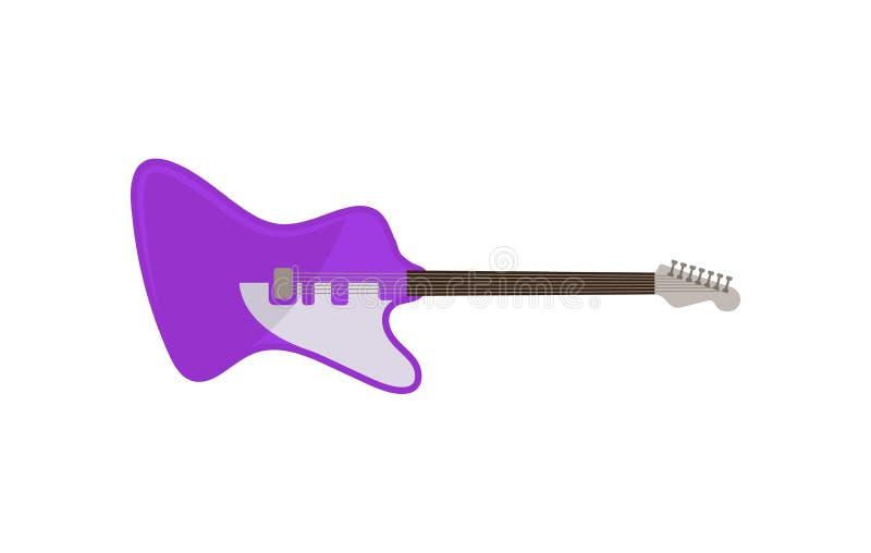 Guitarra eléctrica violeta, ejemplo del vector del instrumento de música rock en un fondo blanco ilustración del vector