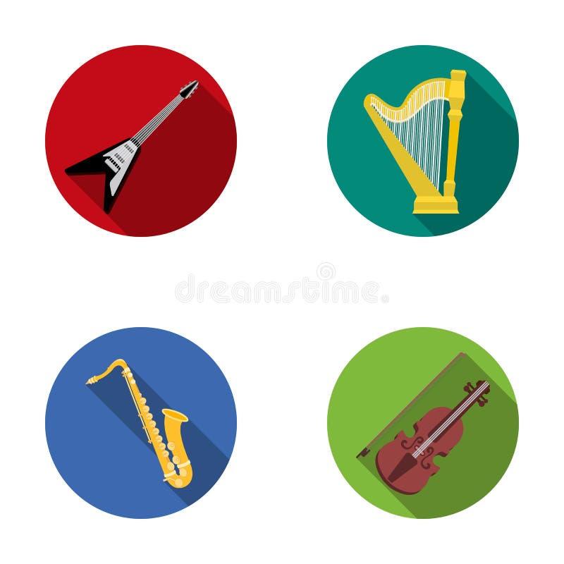 Guitarra elétrica, altifalante, harpa, saxofone, violino Os instrumentos de música ajustaram ícones da coleção no símbolo liso do ilustração do vetor