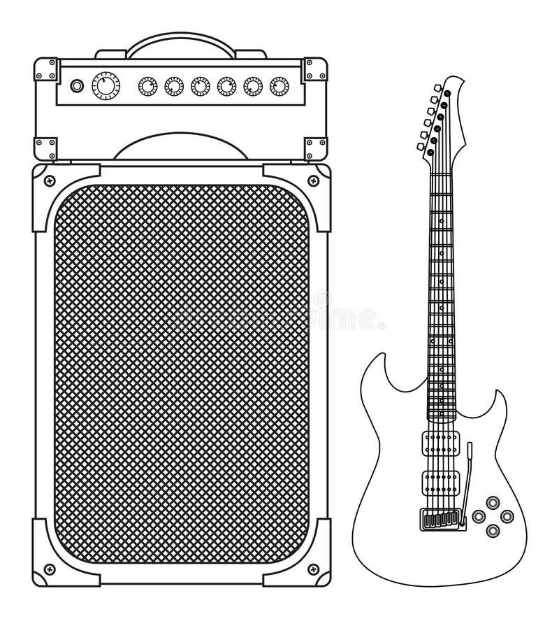 Guitarra elétrica azul ilustração do vetor