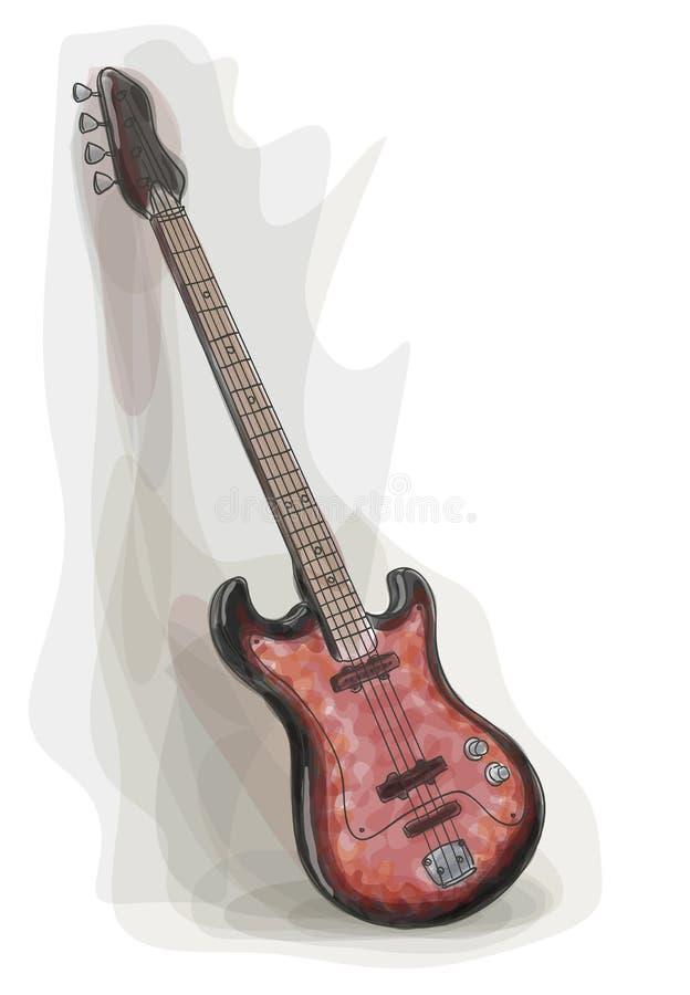 Guitarra elétrica baixa. Estilo da aguarela. ilustração do vetor