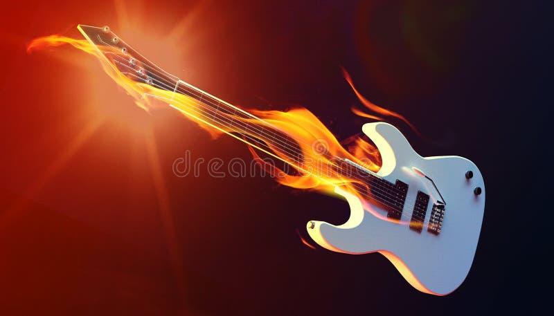 A guitarra elétrica branca com chamas 3d rende ilustração royalty free