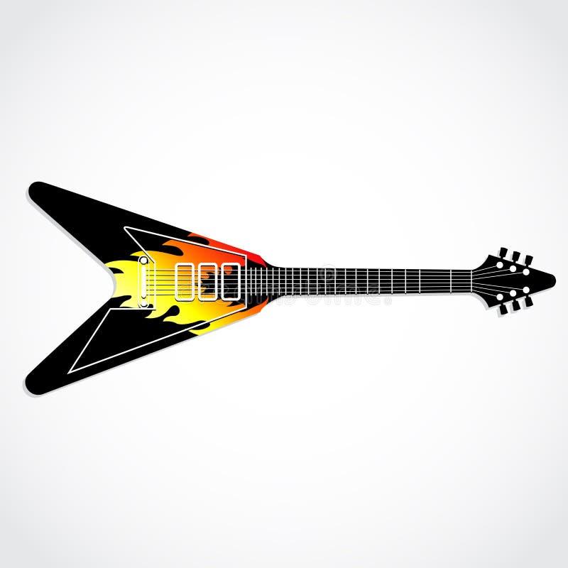 Guitarra elétrica com chamas pintadas ilustração do vetor