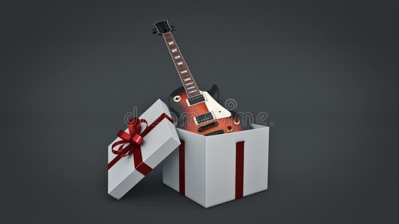 Guitarra elétrica Conceito da caixa de presente ilustração stock