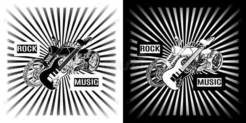 Guitarra elétrica da música rock e velomotor do interruptor inversor ilustração royalty free