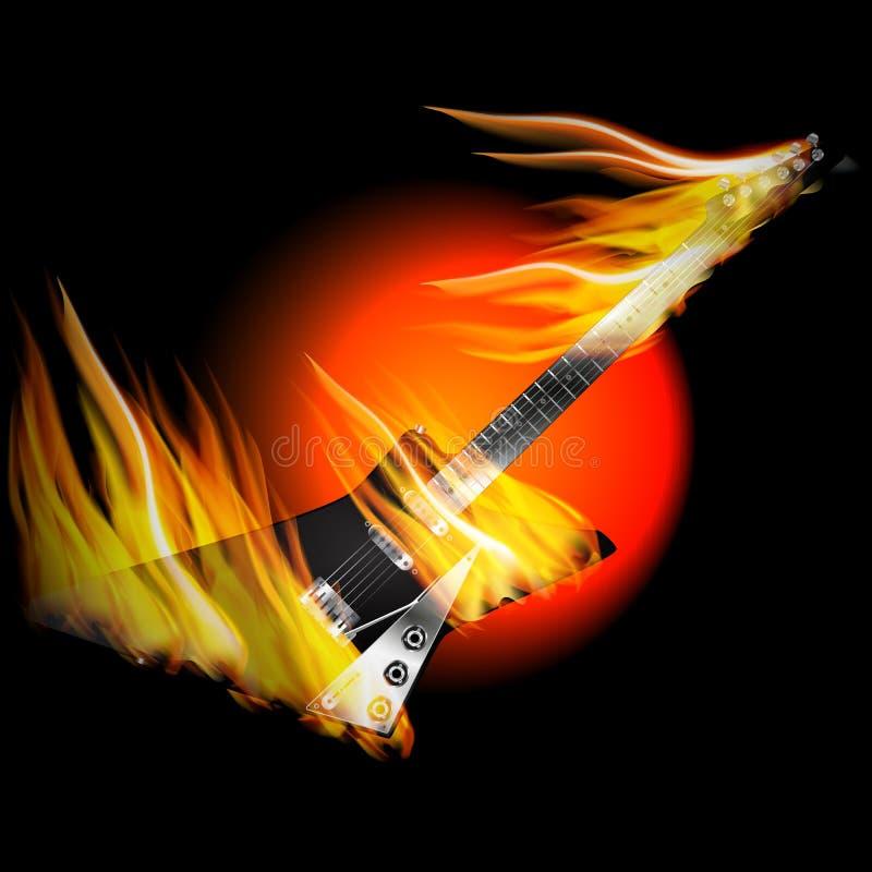 Guitarra elétrica da rocha no fogo e na chama ilustração royalty free