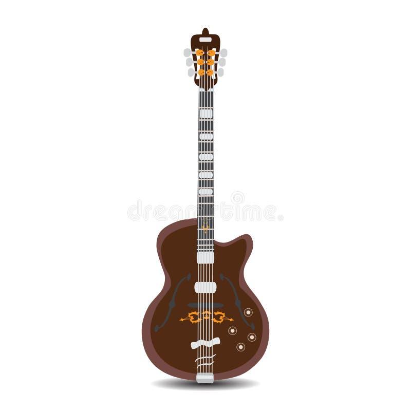 Guitarra elétrica do ritmo, ilustração do vetor no estilo liso ilustração do vetor