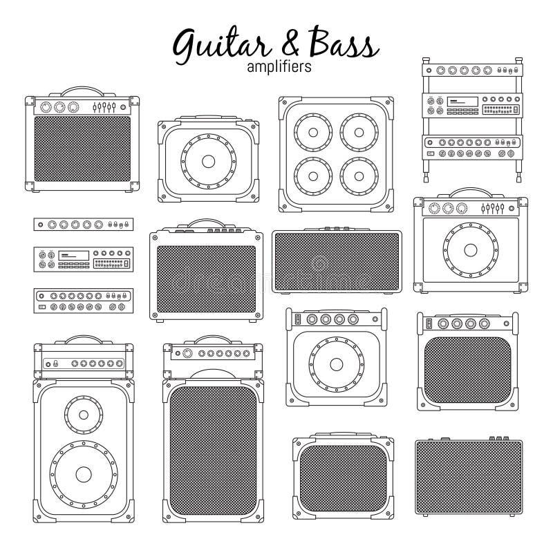 Guitarra elétrica e Bass Amplifiers ilustração stock