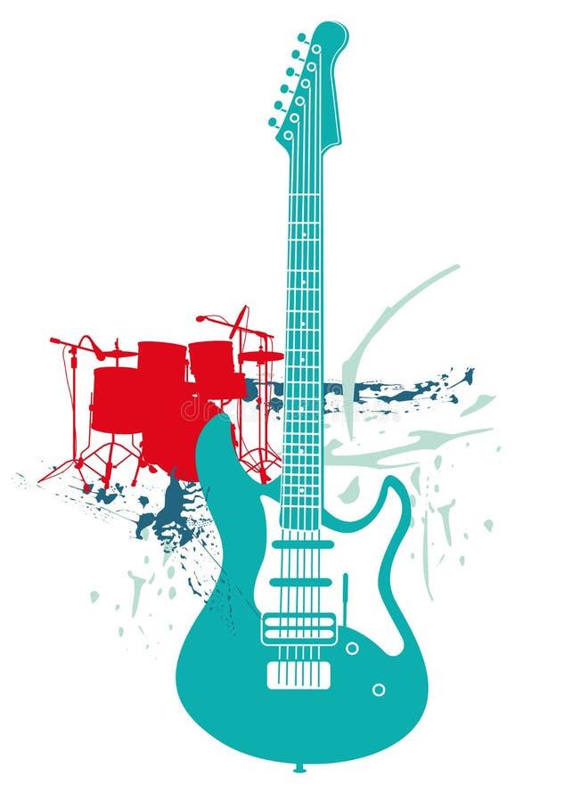 Guitarra elétrica e cilindros ilustração do vetor