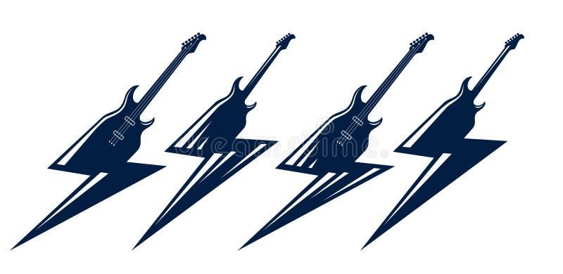 A guitarra elétrica em uma forma do relâmpago, música rock quente, concerto do hard rock ou do rock and roll ou etiquetas do fest ilustração do vetor