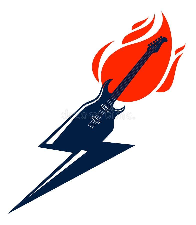 Guitarra elétrica no fogo em uma forma do relâmpago, guitarra quente da música rock nas chamas e parafuso, concerto do hard rock  ilustração royalty free