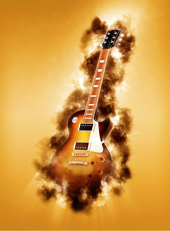 Guitarra elétrica tragada nas chamas ilustração royalty free