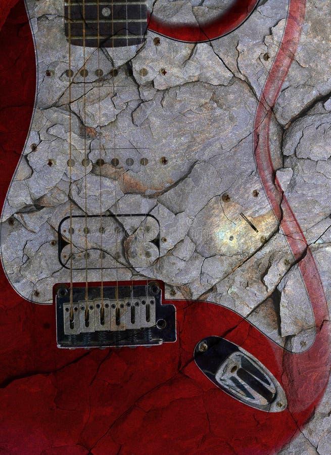 Guitarra elétrica velha no branco foto de stock